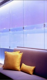 C931 Borgata Sea Blue Restaurant - stainless steel and lit resin wall; Design by Adam Tihany, Lighting Design by Focus Lighting