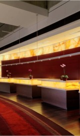 Hyatt O'Hare - Backlit Onyx Wall; Design by TVS Design