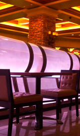 C789 Sushi Sake restaurant -  lit wall; Design by Friedmutter Group, Lighting Design by Kaplan Gehring McCarroll