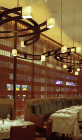 C932 -  Bobby Flay Steakhouse custom restaurant lighting; Design by Rockwell Group