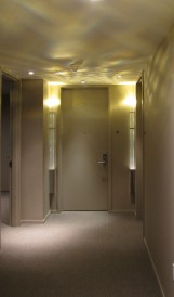 C1126 - Hyatt Andaz NYC - corridor crystal wall sconces; design by Tony Chi, Lighting Design by Ken Ventry Lighting Design